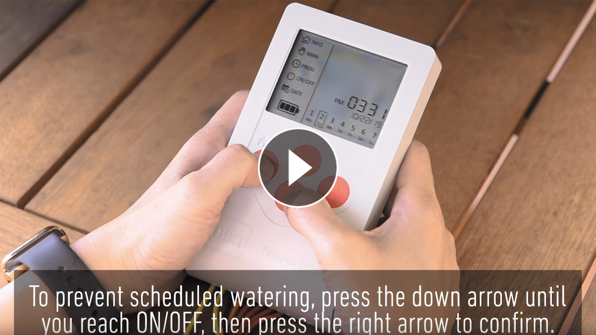 Tempus Controller LCD – How To Prevent Scheduled Watering